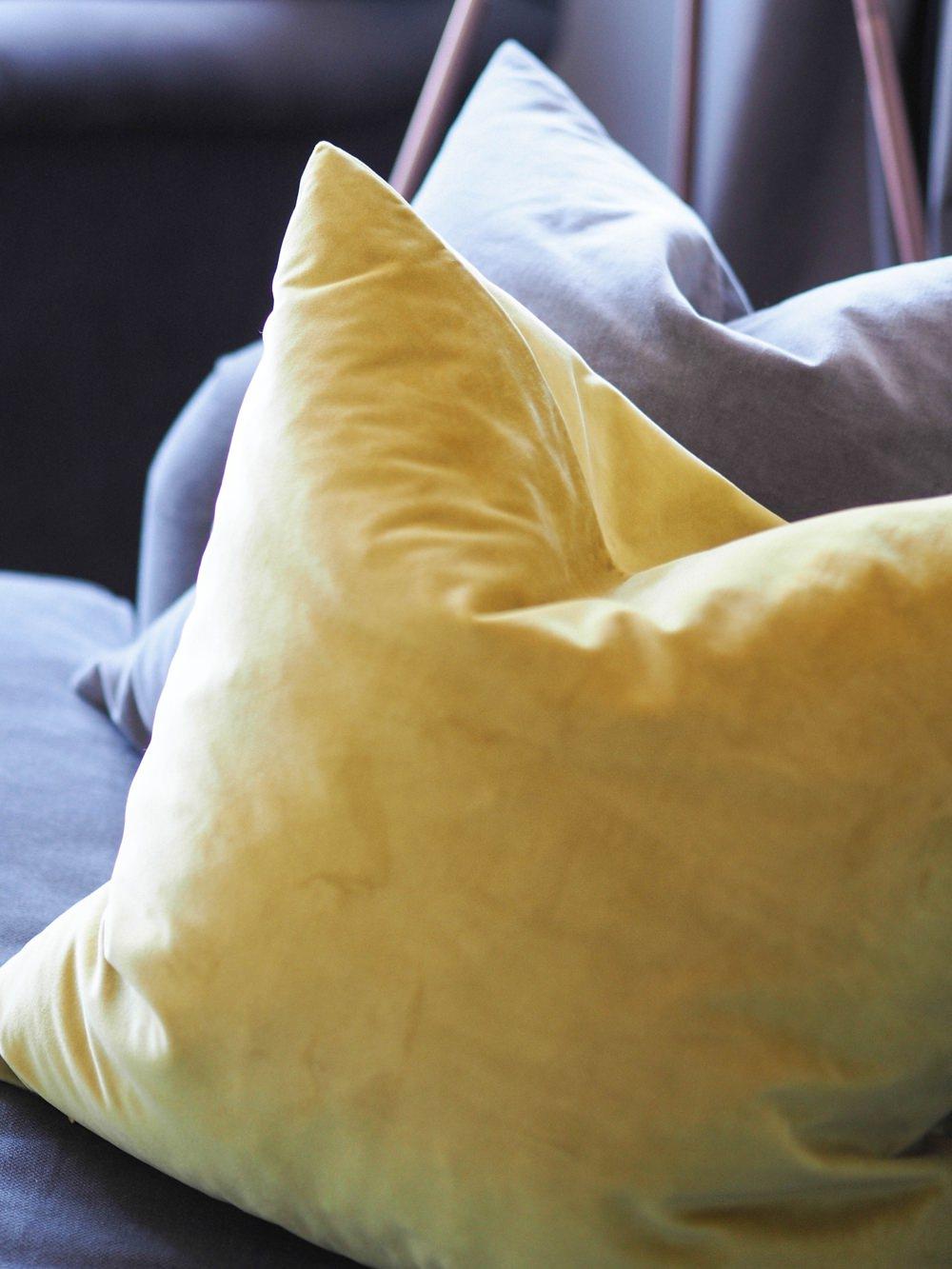 1930s House Living Room Renovation Velvet Cushions Mustard Yellow Grey Sofa