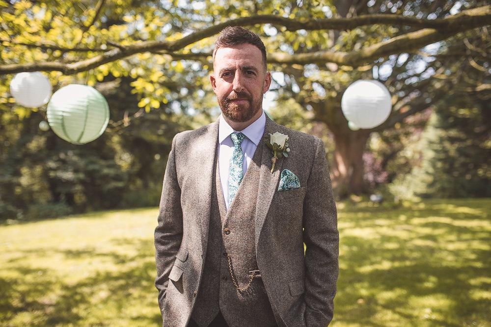 Groom Suit Tweed Waistcoat Tie Groomsmen Barn Wedding Shropshire Brightwing Photography