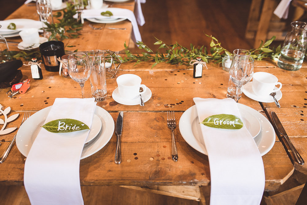 Table Decor Wooden Long Napkins Place Setting Leaf Name Barn Wedding Shropshire Brightwing Photography