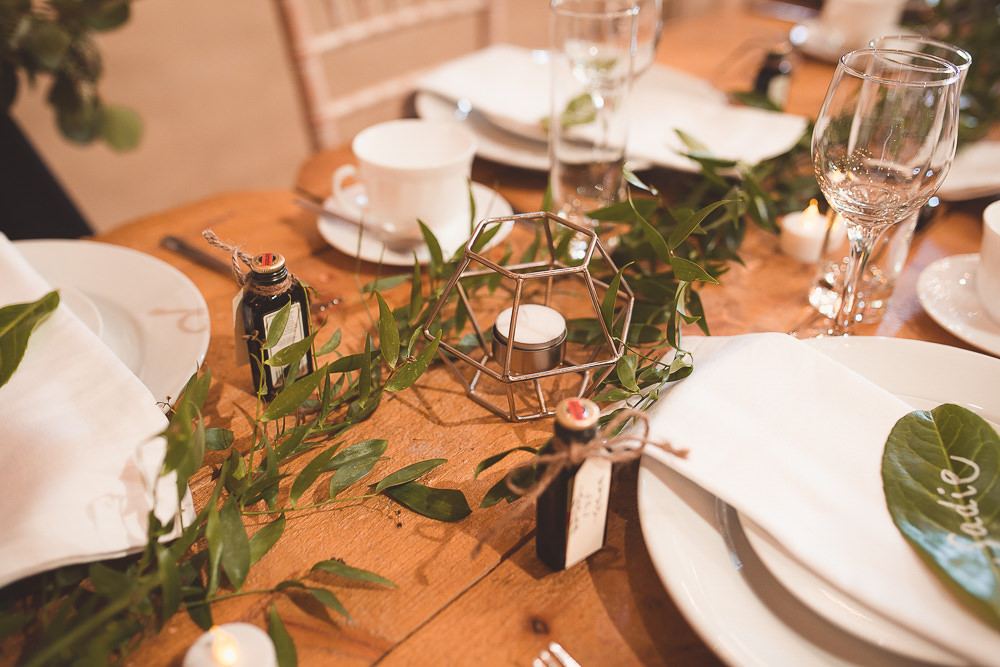 Terrarium Candle Decor Barn Wedding Shropshire Brightwing Photography