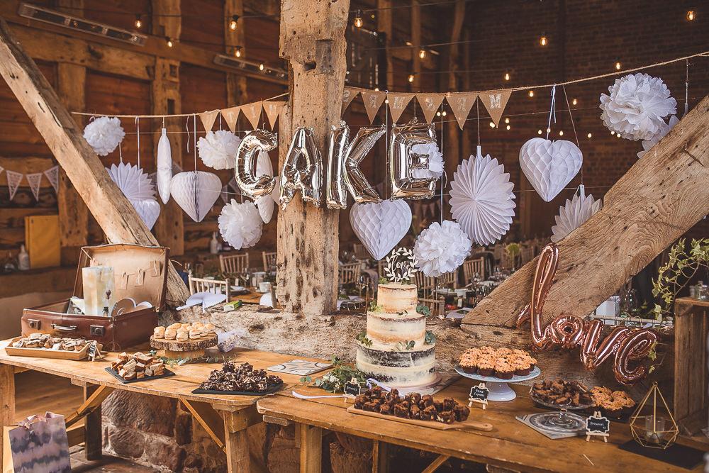 Lanterms Pom Poms Pinwheels Decor Decoration Cake Table Dessert Barn Wedding Shropshire Brightwing Photography