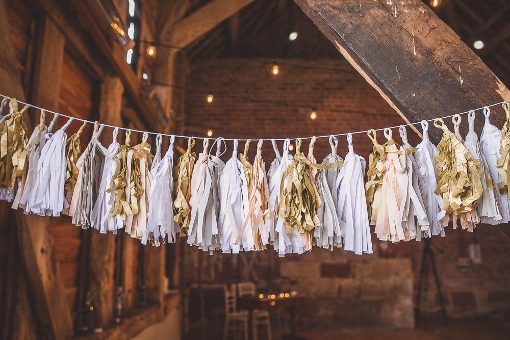 Tassel Garland White Grey Gold Barn Wedding Shropshire Brightwing Photography