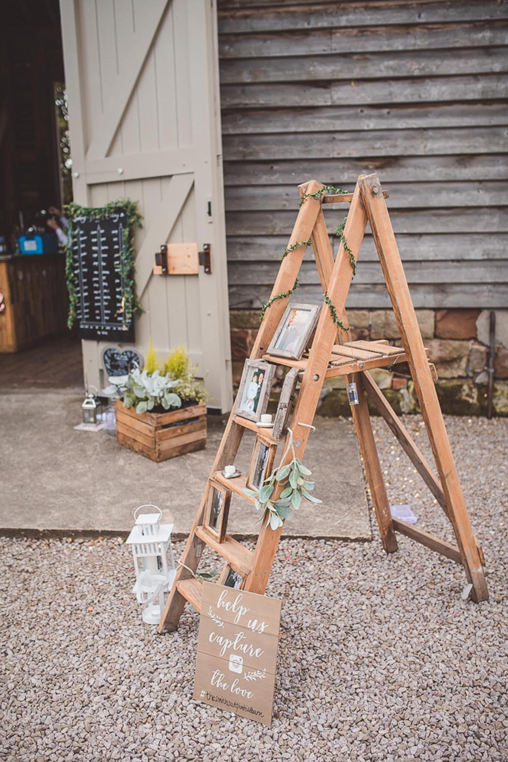 Wooden Ladder Decor Set Up Decoration Barn Wedding Shropshire Brightwing Photography