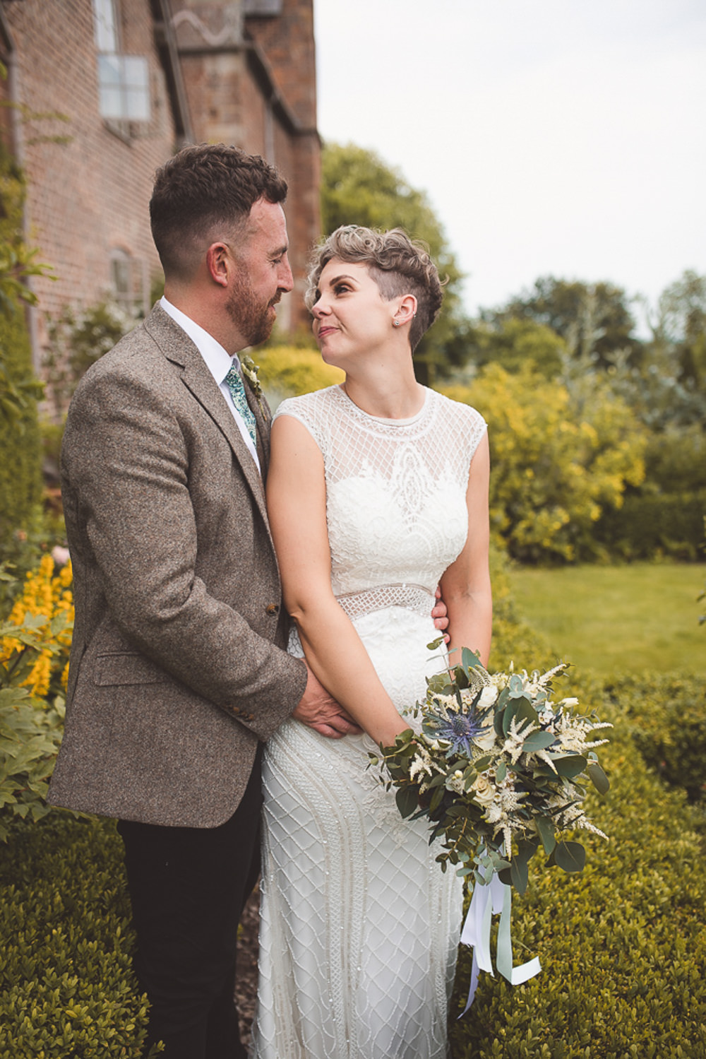 Barn Wedding Shropshire Brightwing Photography Adrianna Pappell Dress Gown Bride Bridal 1930s Beaded