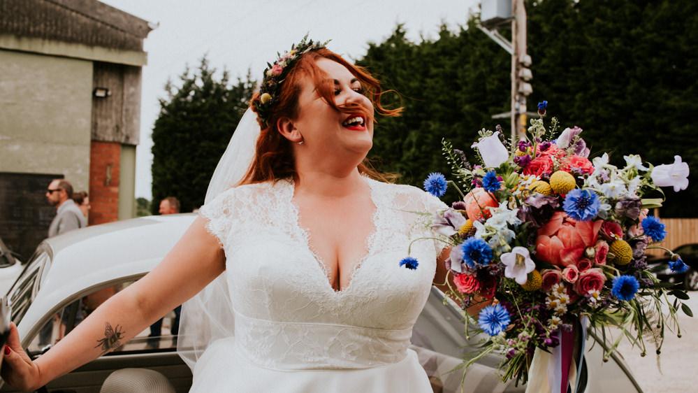 Bride Bridal V Neck Cap Sleeve Tea Length Dress Gown Flower Crown Veil Multicolour Bouquet Bert's Barrow Wedding Shutter Go Click Photography