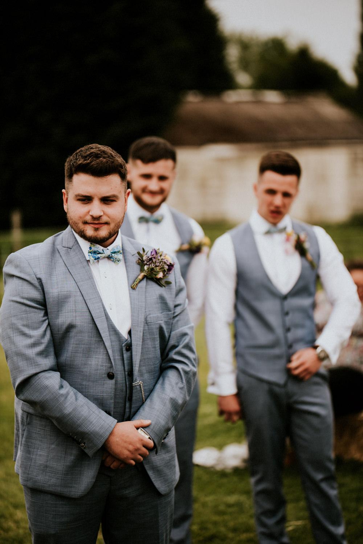 Grey Blue Three Piece Suit Groom Waistcoat Bow Tie Bert's Barrow Wedding Shutter Go Click Photography