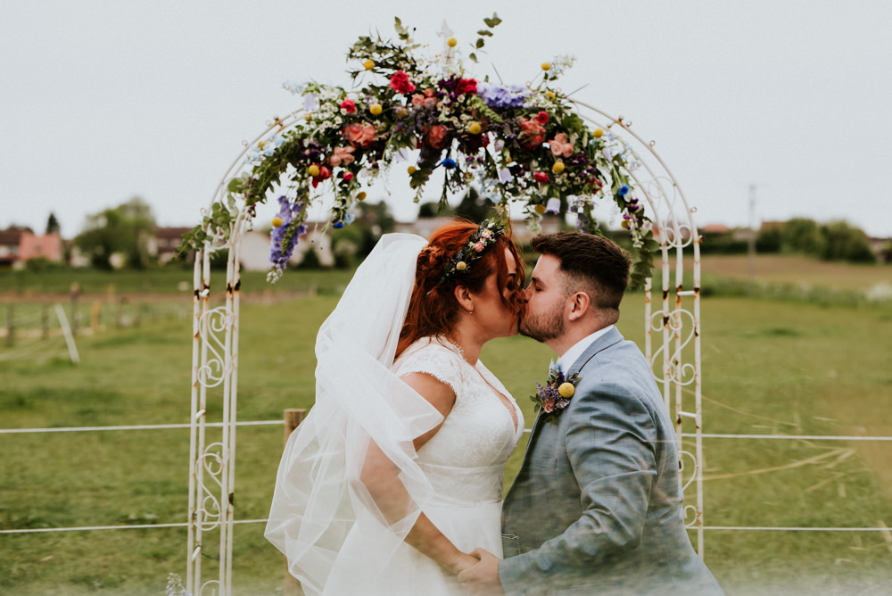 Multicolour Wildflower Floral Flowers Ceremony Arch Bert's Barrow Wedding Shutter Go Click Photography