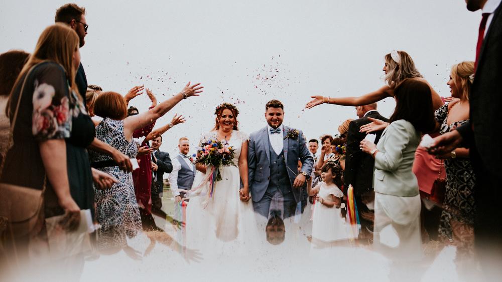 Bride Bridal V Neck Cap Sleeve Tea Length Dress Gown Flower Crown Blue Grey Suit Groom Waistcoat Bow Tie Confetti Bert's Barrow Wedding Shutter Go Click Photography
