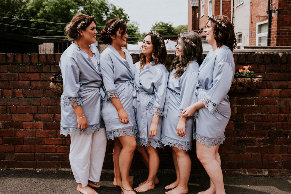 Bridesmaids Gown Robe Flower Crowns Bert's Barrow Wedding Shutter Go Click Photography