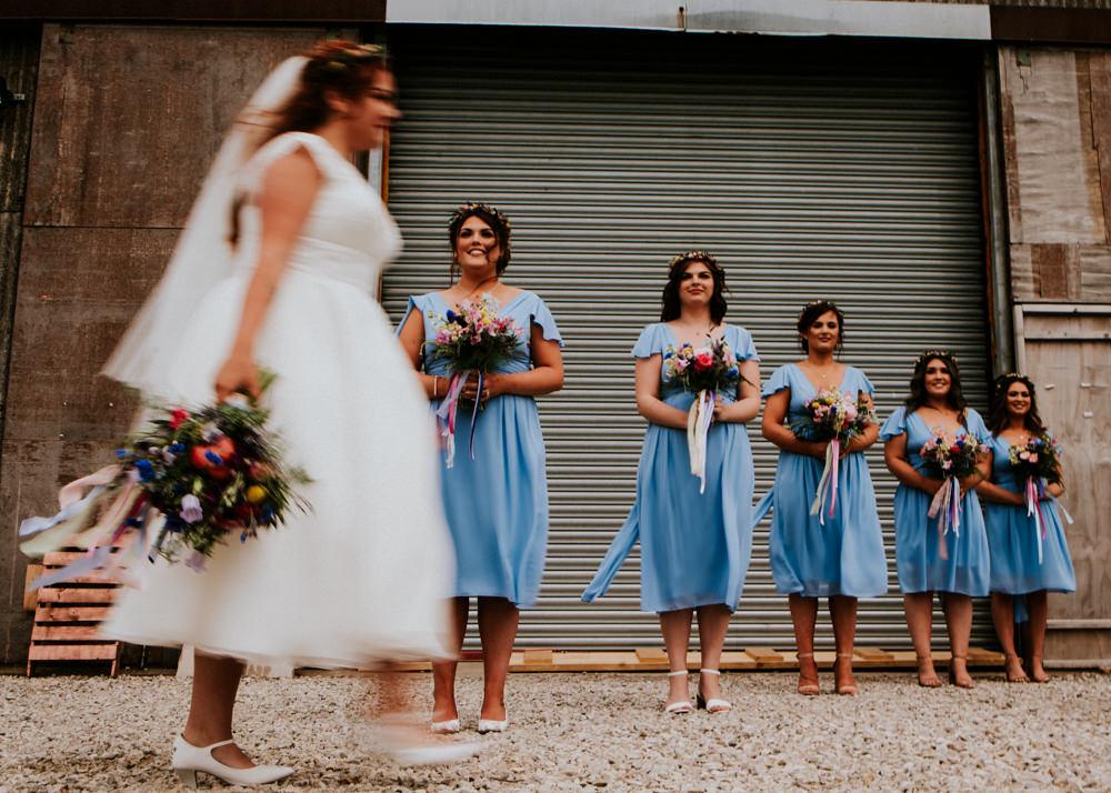 Blue Cap Sleeve Wrap Bridesmaids Dress Bouquet Ribbons Bert's Barrow Wedding Shutter Go Click Photography