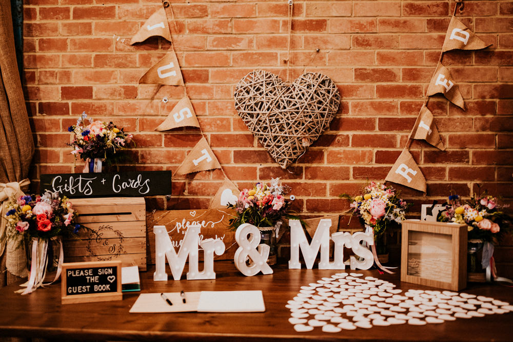 Gift Table Guest Book Hessian Bunting Wooden Crate Chalkboard Hearts Mr & Mrs Bert's Barrow Wedding Shutter Go Click Photography