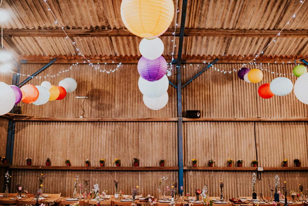 Paper Lanterns Barn Flower Pots Fairy Lights Bert's Barrow Wedding Shutter Go Click Photography