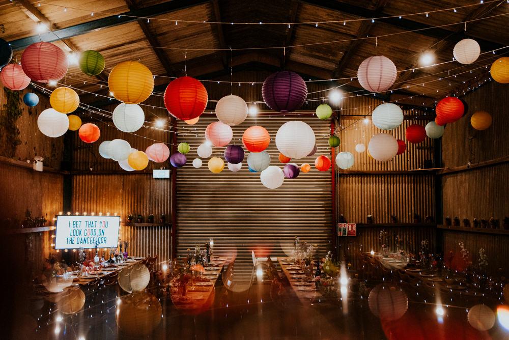 Barn Multicolour Paper Lanterns Fairy Lights Bert's Barrow Wedding Shutter Go Click Photography