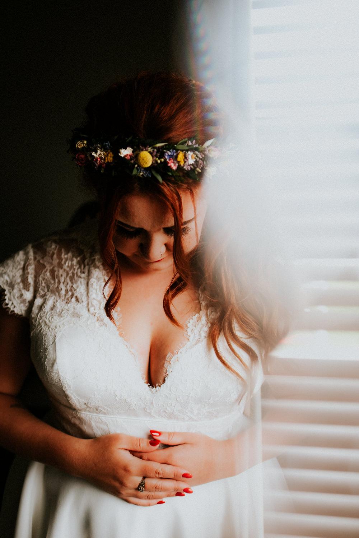 Bride Bridal Dried Flower Crown Bert's Barrow Wedding Shutter Go Click Photography