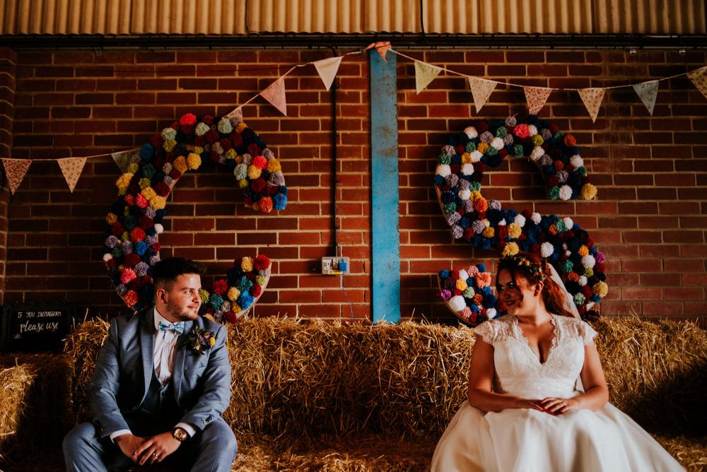 Pom Poms Initials Bunting Bert's Barrow Wedding Shutter Go Click Photography