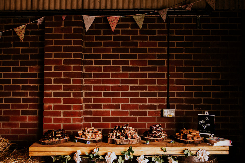 Dessert Table Log Slices Bunting Bert's Barrow Wedding Shutter Go Click Photography