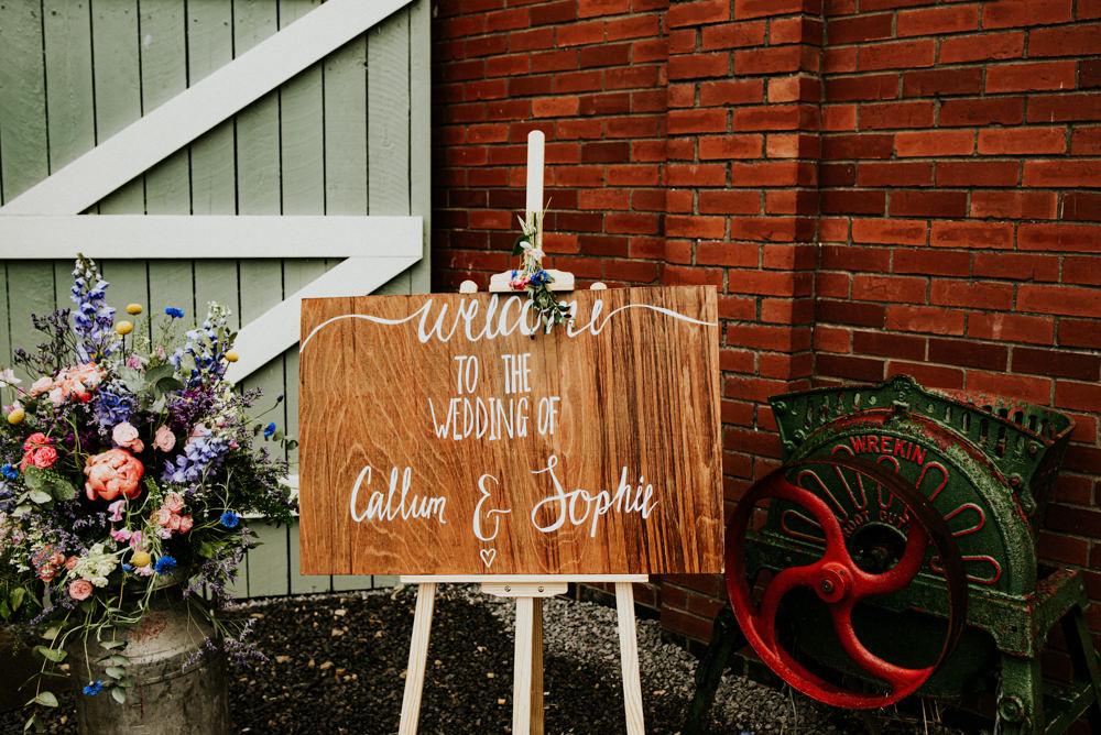 Welcome Wooden Sign Milk Churn Flowers Florals Easel Bert's Barrow Wedding Shutter Go Click Photography