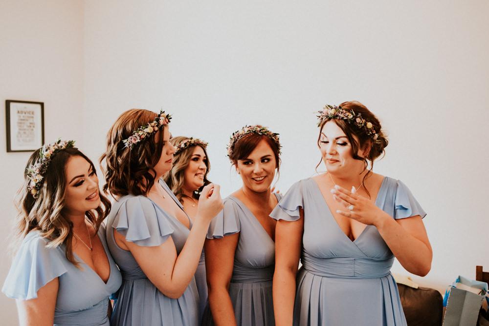 Wrap Cap Sleeve Blue Bridesmaids Dresses Flower Crown Bert's Barrow Wedding Shutter Go Click Photography