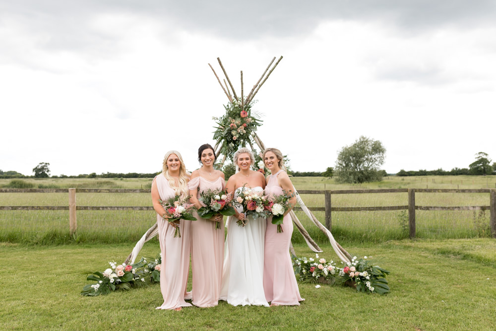 Bride Bridal Dress Gown Sweetheart Neckline Pink Mismatched Bridesmaids Naked Tipi Veil Botanical Barn Wedding Heather Jackson Photography