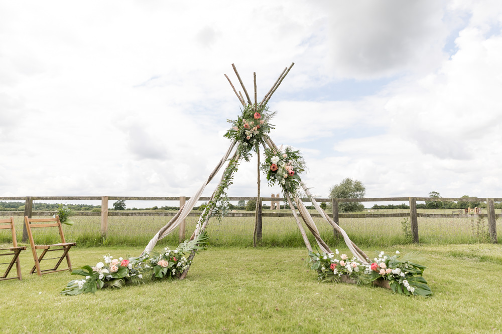 Ceremony Backdrop Naked Tipi Botanical Floral Botanical Barn Wedding Heather Jackson Photography