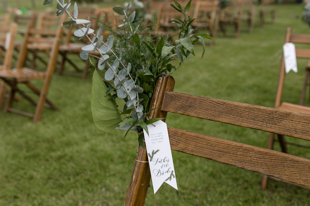 Ailse End Greenery Eucalyptus Reserved Sign Botanical Barn Wedding Heather Jackson Photography