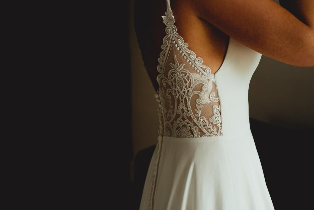 Lace Back V Neck Button Dress Bride Bridal British Countryside Wedding Georgia Rachael Photography