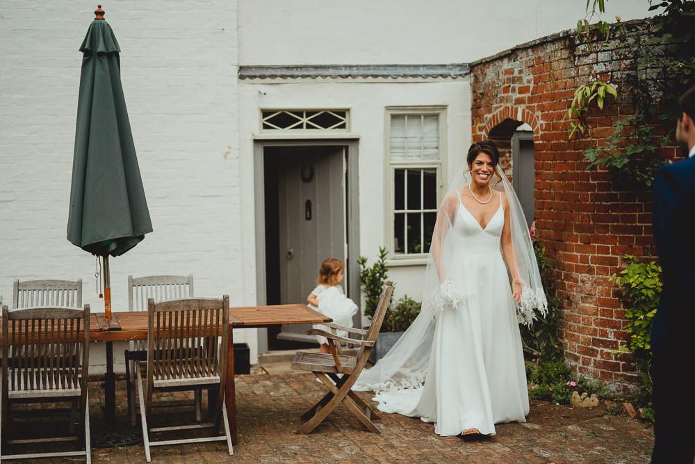 Bride Bridal Strappy Sleeveless Lace V Neck Dress Gown Veil British Countryside Wedding Georgia Rachael Photography