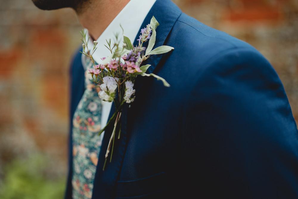 Wildflower Buttonhole Groom British Countryside Wedding Georgia Rachael Photography