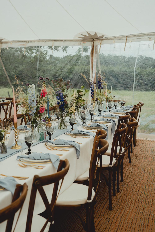 Wildflower Brass Candlesticks Marquee Table Setting Napkin Knot British Countryside Wedding Georgia Rachael Photography