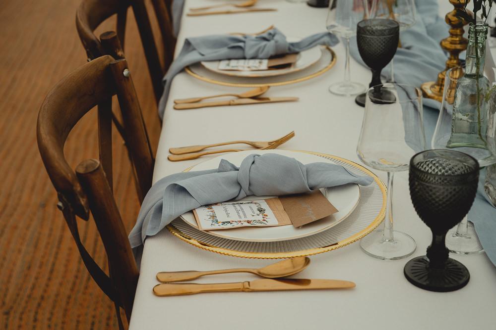 Table Setting Napkin Knot Gold Cutlery Black Glass British Countryside Wedding Georgia Rachael Photography