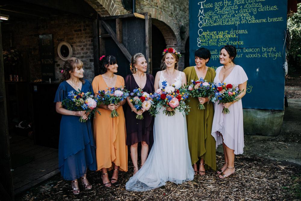 Bridesmaids Bridesmaid Dresses Dress Autumn Autumnal Fall Jewel Tones Cabourne Parva Wedding Kazooieloki Photography