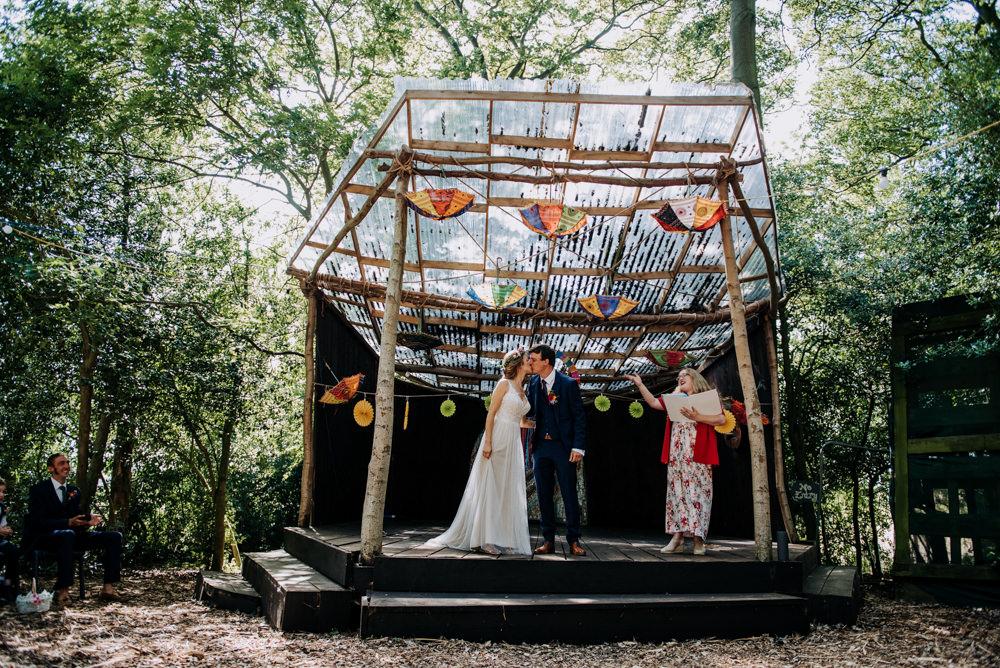 Outdoor Woodland Ceremony Umbrellas Decor Cabourne Parva Wedding Kazooieloki Photography