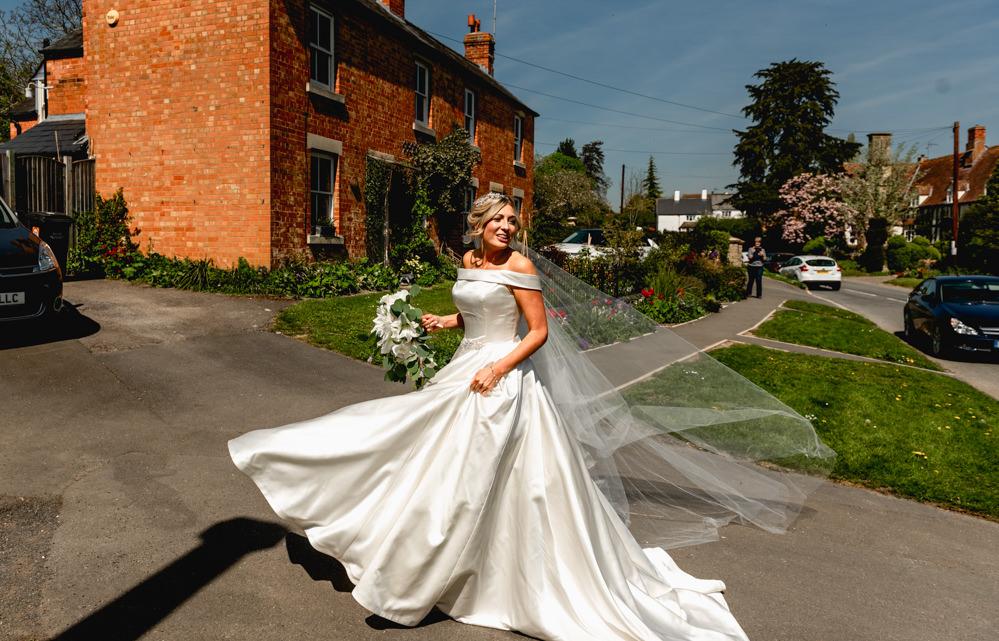 Bride Bridal Cold Shoulder Bardot A Line Dress Gown Veil Cascading Bouquet Cotswolds Barn Wedding Lisa Carpenter Photography