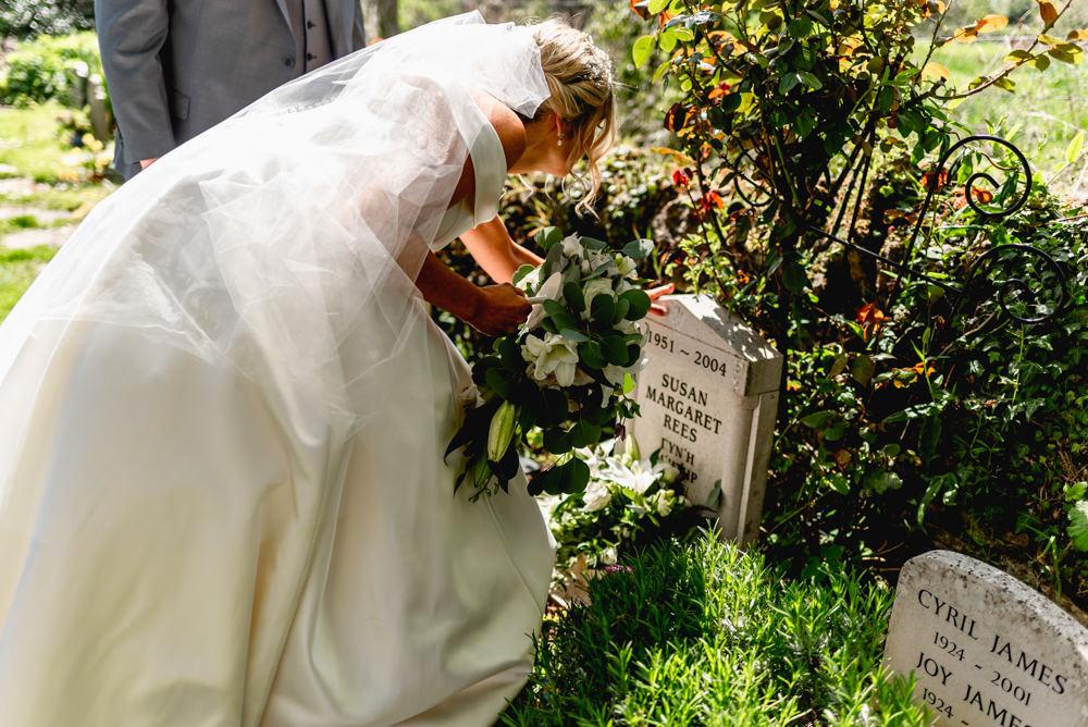 Bride Bridal Cold Shoulder Bardot A Line Dress Gown Veil Cascading Bouquet Memorial Bouquet Cotswolds Barn Wedding Lisa Carpenter Photography