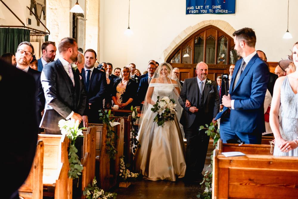 Bride Bridal Cold Shoulder Bardot A Line Dress Gown Cotswolds Barn Wedding Lisa Carpenter Photography