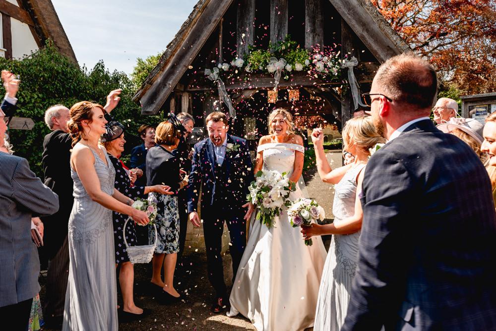 Bride Bridal Cold Shoulder Bardot A Line Dress Gown Blue Suit Groom Confetti Cotswolds Barn Wedding Lisa Carpenter Photography