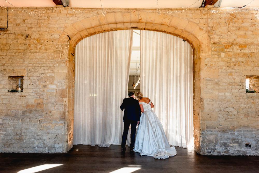 Bride Bridal Cold Shoulder Bardot A Line Dress Gown V Back Cotswolds Barn Wedding Lisa Carpenter Photography