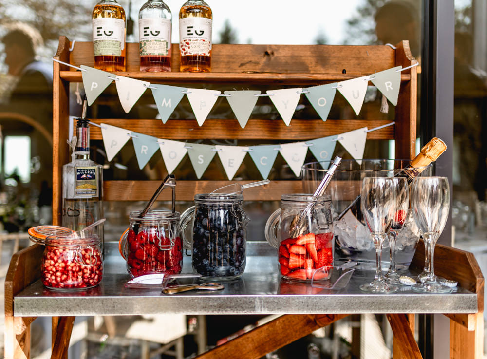 Pimp Your Prosecco Station Bunting Cotswolds Barn Wedding Lisa Carpenter Photography