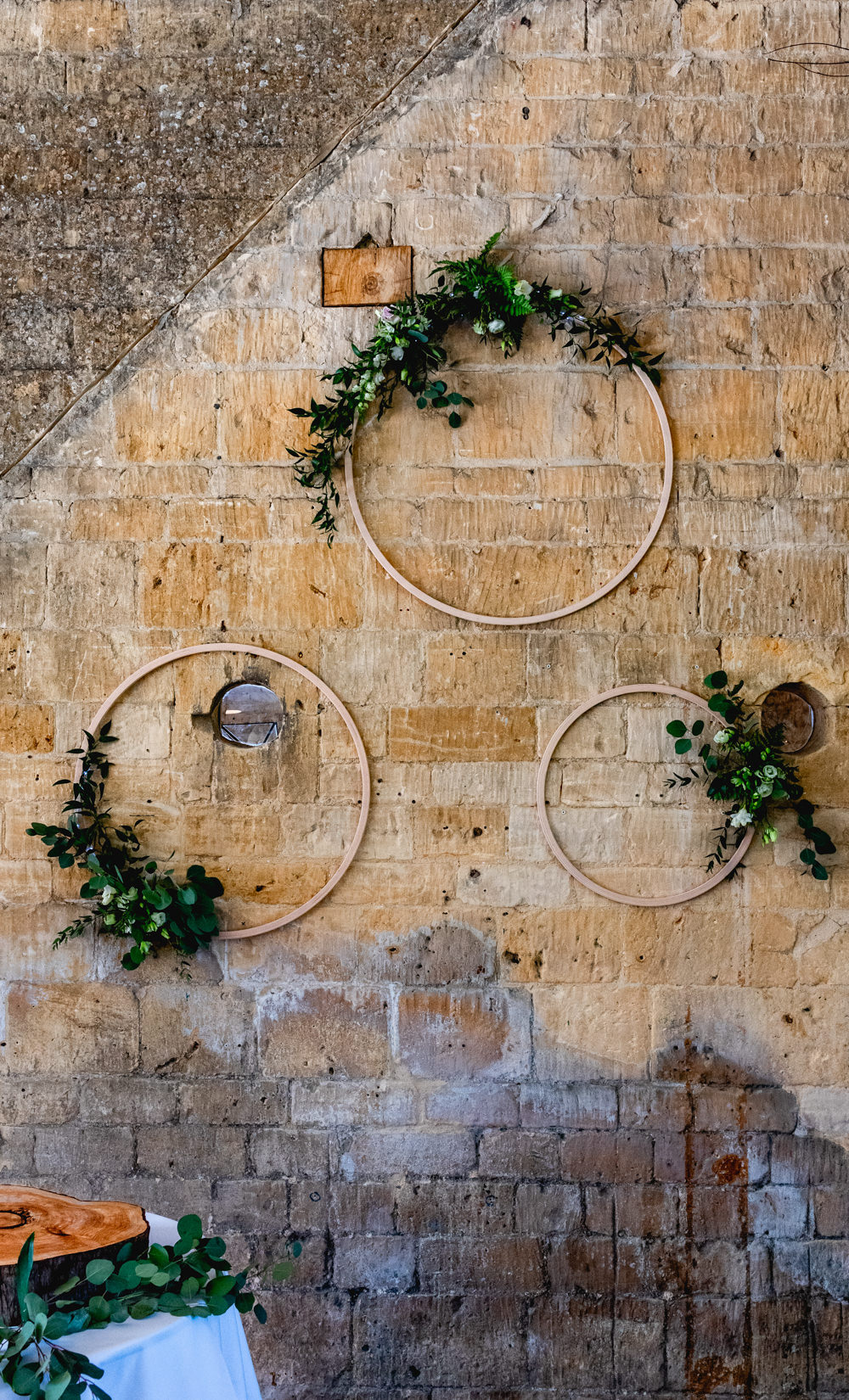 Hoop Wooden Greenery Foliage Hanging Cotswolds Barn Wedding Lisa Carpenter Photography