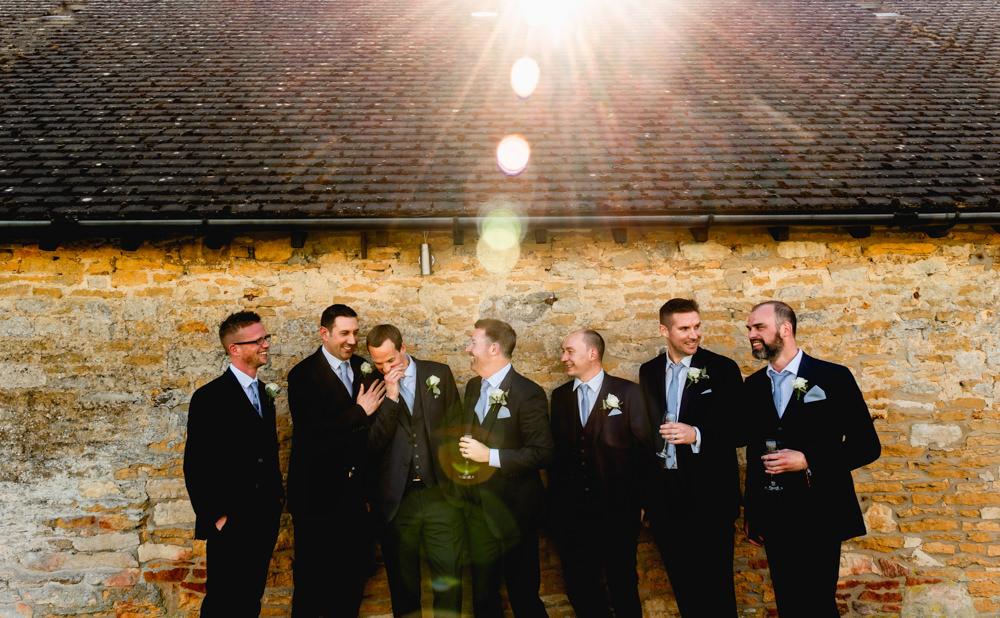 Groom Groomsmen Blue Suit Cotswolds Barn Wedding Lisa Carpenter Photography
