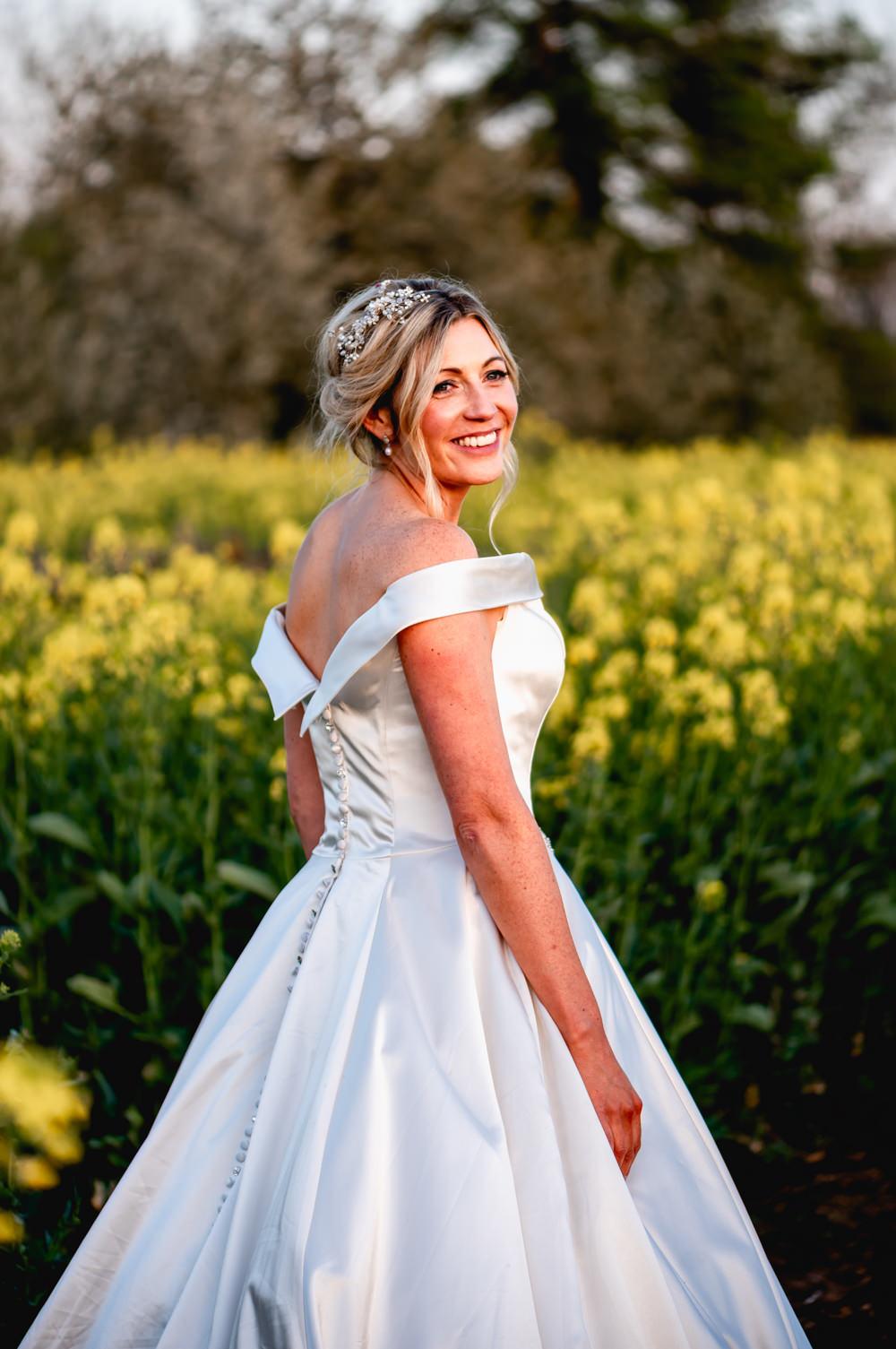 Bride Bridal Cold Shoulder Bardot A Line Dress Gown V Back Button Down Cotswolds Barn Wedding Lisa Carpenter Photography