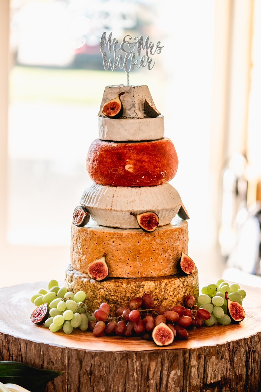 Cheese Tower Cake Laser Cut Sparkly Topper Cotswolds Barn Wedding Lisa Carpenter Photography