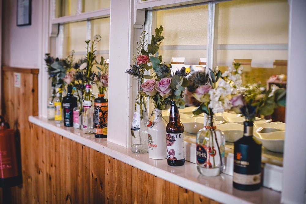 Gin Beer Bottles Floral Flowers Decor DIY Bohemian Wedding Love & Bloom Photography