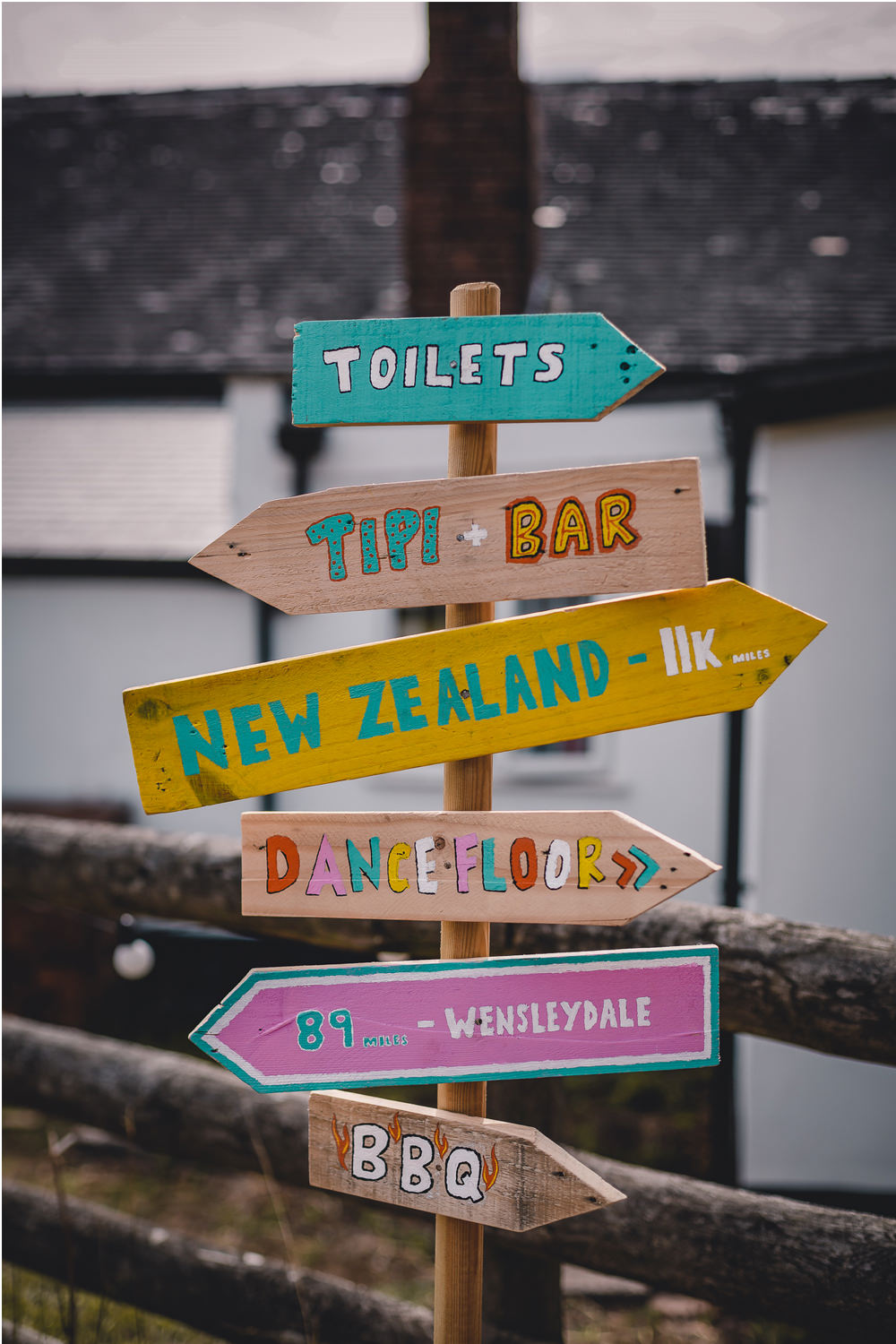 Wooden Sign Signpost Directions Handpainted DIY Bohemian Wedding Love & Bloom Photography