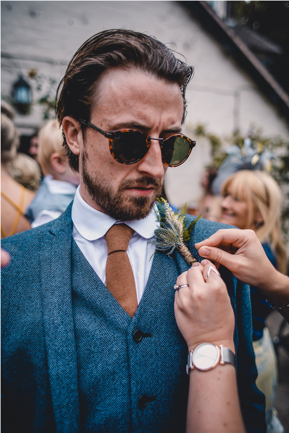 Blue Herringbone Tweed Suit Groom Sunglasses Hessian Sea Holly Buttonhole Round Collar Shirt DIY Bohemian Wedding Love & Bloom Photography
