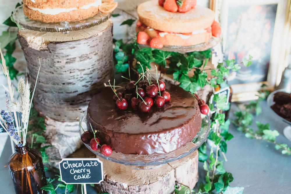Naked Cakes Table Sponge Rustic Wooden Dried Flowers Wedding Emily Tyler Photography