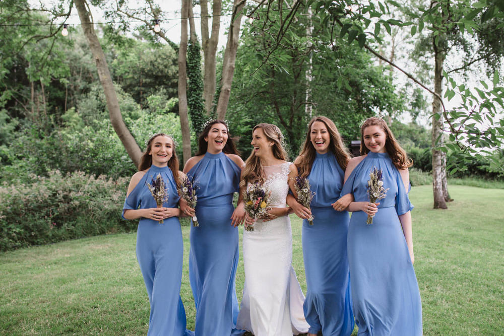 Blue Bridesmaid Bridesmaids Dress Dresses Long Maxi Dried Flowers Wedding Emily Tyler Photography