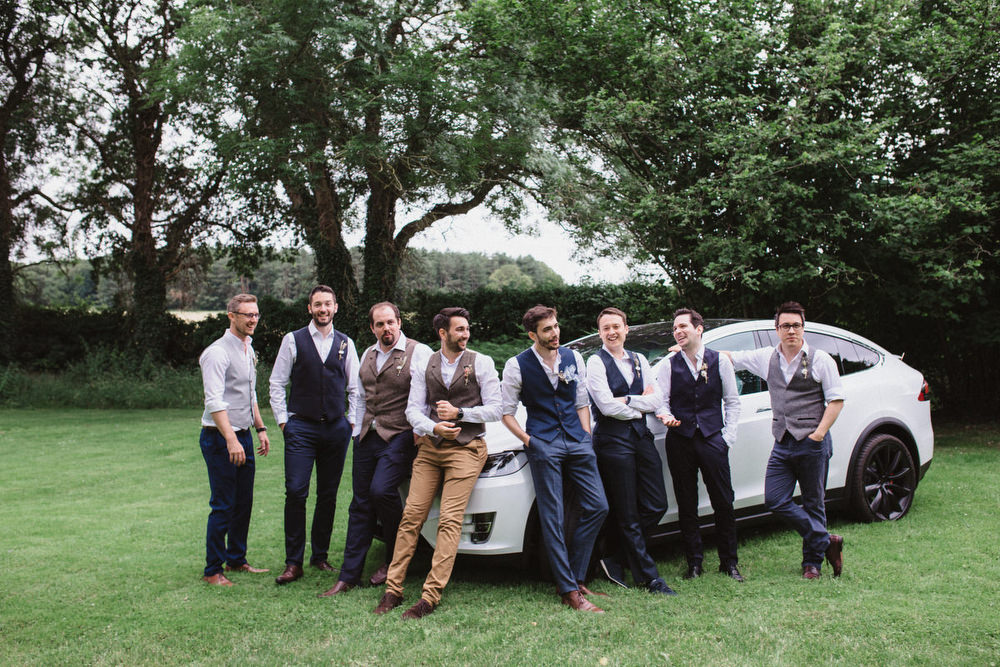 Mismatched Groomsmen Waistcoats Dried Flowers Wedding Emily Tyler Photography