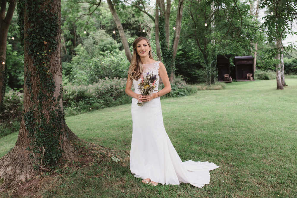 Dress Gown Bride Bridal Lace Train Dried Flowers Wedding Emily Tyler Photography