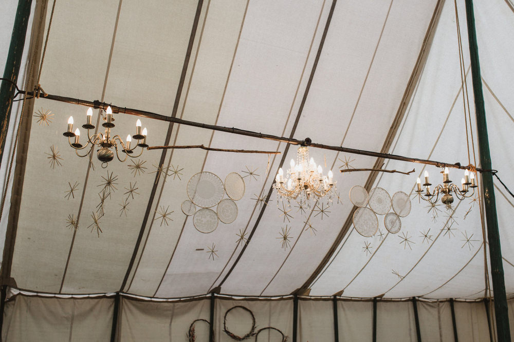 Marquee Pole Tent Vintage Rustic Stars Hoops Lace Dried Flowers Wedding Emily Tyler Photography